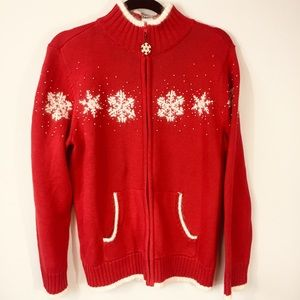 QUACKER FACTORY Holiday Red Snowflake Sweater S